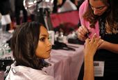 NEW YORK NY - NOVEMBER 13: Model Jasmine Tookes during nails preparation