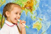 Child Smiles By World Map