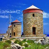 Rhodes windmills. Greece