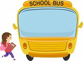 Illustration of a Little Girl About to Board a School Bus