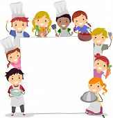 foto of stickman  - Illustration of Kids Holding Cooking Utensils Surrounding a Blank Board - JPG