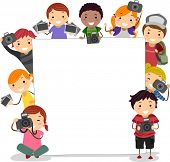 Illustration of Kids Holding Cameras Surrounding a Blank Board