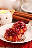 Lingonberry upside down muffins made for christmas
