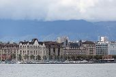 view of city of Geneva the Leman Lake in Switzerland Europe