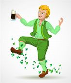 Joyful jumping leprechaun