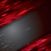 Digital abstract red technology background, raster.