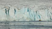 Svalbard, Norway - July 2013: Close-up of July 14th Glacier in Svalbard