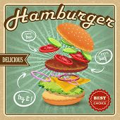image of hamburger  - Delicious best choice retro hamburger food fresh ingredients poster vector illustration - JPG