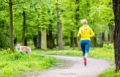 stock photo of dog park  - Woman runner running with dog in park summer nature exercising in bright forest outdoors - JPG