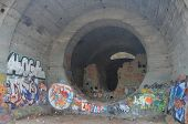 KIEV, UKRAINE -APR 21, 2014: Old tunnel of Stalin. Part of Kiev defense line in WW2 time. today name