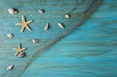 pic of carapace  - Summer holidays background in blue with fishing net ans seashells and a space for advertising - JPG