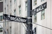 foto of broadway  - Wall street and broadway sign in New York - JPG