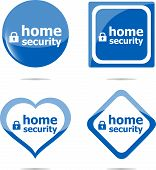 Home Security With Lock On Stickers Set