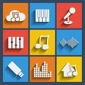 Set of 9 music vector web and mobile icons