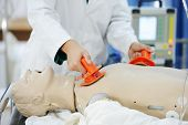 pic of defibrillator  - Doctors working at modern hospital for heart attack - JPG