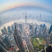 Fisheye View Of Shanghai At Dusk
