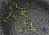 pic of crime scene  - crime scene chalk outline of a man without a weapon  - JPG