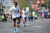 BELGRADE, SERBIA - APRIL 27: A group of marathon competitors during the 27th Belgrade Marathon on Ap
