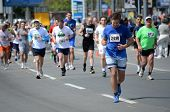 BELGRADE, SERBIA - APRIL 27: A group of marathon competitors during the 27th Belgrade Marathon on Ap