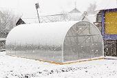 Greenhouse And Snow