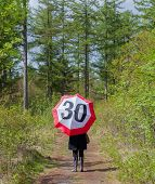 Woman In The Forrest With A Traffic Sign Umbrella