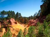 The Vivid Red Ocher Cliffs In Roussillon, Provence, France