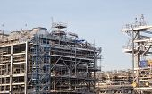 stock photo of lng  - Liquefied natural gas Refinery Factory with LNG storage tank using for Oil and gas industry - JPG