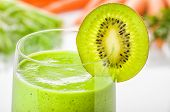 Closeup view of a Green smoothie with kiwi