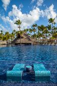 Tropical Resort Swimming Pool In Punta Cana, Dominican Republic