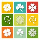 image of clover  - Set of shamrock and clover icons on colorful square buttons conceptual of the Irish and good luck - JPG