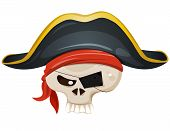stock photo of pirate hat  - Illustration of a cartoon pirate skull head character with bandana and corsair hat - JPG