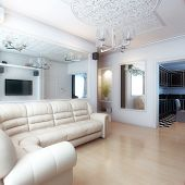 Living Room Interior Design With White Leather Sofa