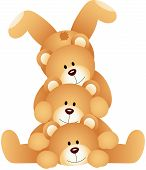 Stack of teddy bears