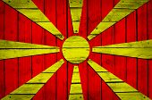 Macedonian flag painted on wooden boards