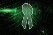 Merit badge against green and black circuit board
