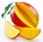 pic of mango  - Mango with its sections on a white background - JPG