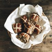 Basket With Hot Cross Buns