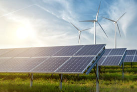 foto of save earth  - solar panels and wind generators under blue sky on sunset - JPG