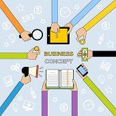 Business hands flat line
