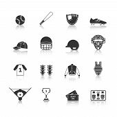 Baseball Icons Set Black