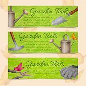 Garden tools horizontal banners