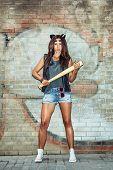 Bad Girl Holding A Baseball Bat