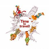 Travel time sketch colored poster