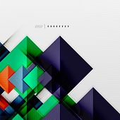 Geometric squares and rhombus futuristic template - colorful business presentation or abstract broch