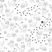 Cartoon Cats Seamless Pattern
