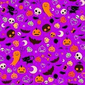 purple halloween seamless pattern