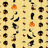 halloween themed seamless pattern with cute skulls, ghosts, cats, bats, pumpkins etc
