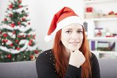 Young Christmas Red Hair Girl Thinking