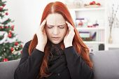 Woman Have Headache On Christmas