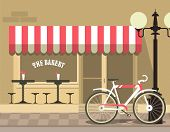 image of local shop  - colorful illustration of a cityscape small bakery shop with tables next to her bike and a lamppost in a flat style - JPG